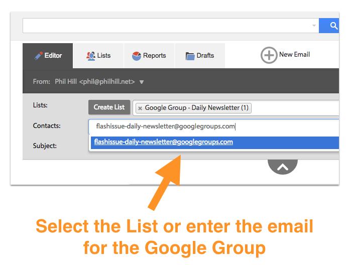 email newsletter google group send