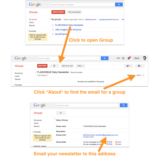 find the email for google group