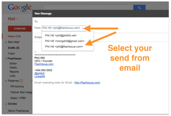 gmail send from selection