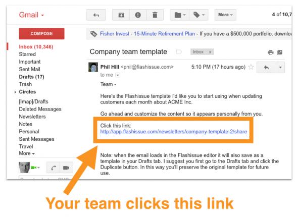 team clicks link