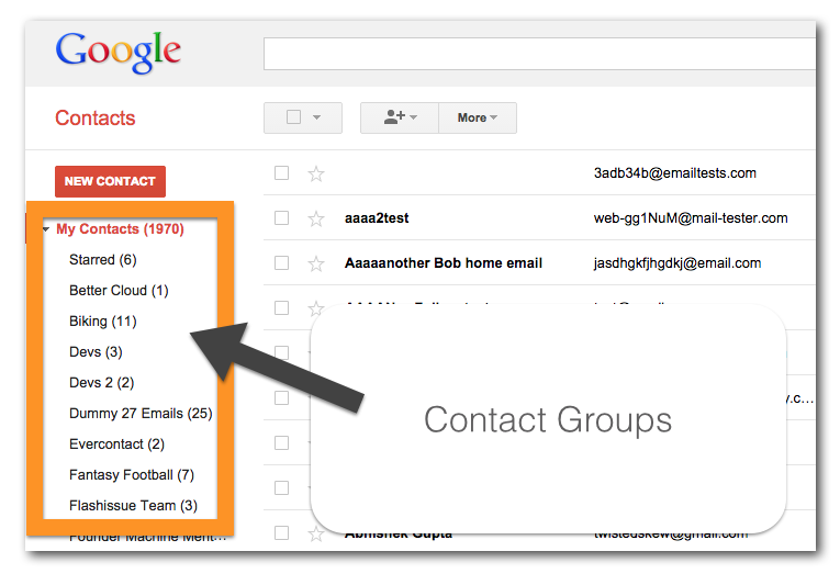 gmail mailing list group contacts