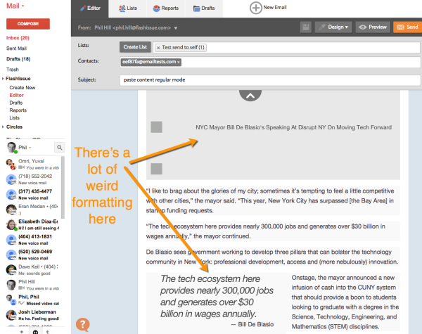 paste blog content email